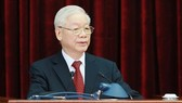Party General Secretary Nguyen Phu Trong addresses the opening session of the fourth session of the 13th Party Central Committee (Photo: VNA)