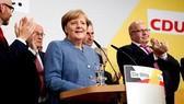 Thủ tướng Đức Angela Merkel tại cuộc họp công bố chiến thắng của liên minh CDU-CSU trong cuộc bầu cử Quốc hội. Ảnh: CNBC