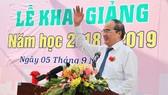 Bí thư Thành ủy TPHCM phát biểu trong lễ khai giảng tại trường THPT Gia Định (quận Bình Thạnh, TPHCM). Ảnh: HOÀNG HÙNG