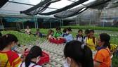 """Học sinh hào hứng trải nghiệm trồng rau, chăm sóc thú qua Cuộc thi """"Văn hay chữ tốt"""" do quận Tân Bình tổ chức"""