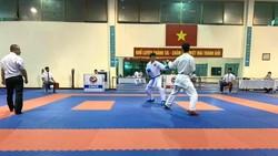 Đội tuyển karate quốc gia trong buổi thi đấu ngày 15-10 tại Trung tâm HLTTQG Hà Nội. Ảnh: V.S.H
