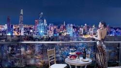 Dáng dấp những tòa cao ốc Sài Gòn được tái hiện trên sâu khấu Dạ tiệc Ngôi Sao