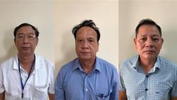Bị can Võ Thanh Bình (trái), Lê Văn Trang (giữa) và Nguyễn Thái Thanh. Ảnh: Bộ Công an