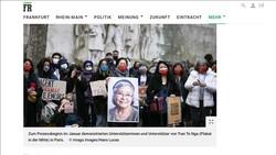 Báo Frankfurter Rundschau (FR) đăng bài viết về vụ kiện của bà Tố Nga. Ảnh: TTXVN