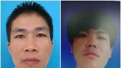 Phạm nhân Phạm Văn Sây và Đinh Văn Dương (từ trái qua phải) đã bị bắt sau khi trốn khỏi trại giam
