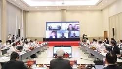 Toàn cảnh hội nghị trực tuyến vào ngày 18-10. Ảnh: ANH TRẦN