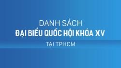 Danh sách đại biểu Quốc hội khóa XV tại TPHCM