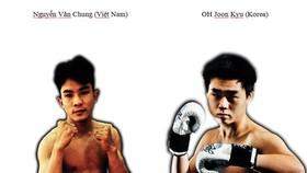 Võ sĩ Nguyễn Văn Chung (trái) sẽ đấu giao hữu với Oh Joon Kyu (Hàn Quốc).