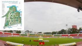Khi Khu LHTT Rạch Chiếc (ảnh nhỏ) chưa hình thành, thì sân Thống Nhất vẫn phải gánh thay trách nhiệm tổ chức các sự kiện thể thao cho TPHCM. Ảnh: DŨNG PHƯƠNG