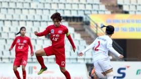 Với cú hatrick trong trận này, Hải Yến tạm dẫn đầu danh sách ghi nhiều bàn thắng. Ảnh: Anh Trần