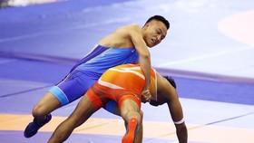 Nguyễn Bá Sơn (xanh) đoạt HCV hạng cân 77kg nam.