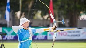 Nữ cung thủ Lộc Thị Đào thi đấu ấn tượng ở Cúp bắn cung châu Á 2020.