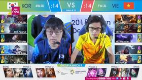 Đội tuyển LMHT Việt Nam (phải) thi đấu với Hàn Quốc tại Asian Games 2018.