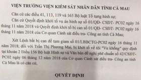 Quyết định phê chuẩn lệnh bắt bị can Trần Thị Phương Mai