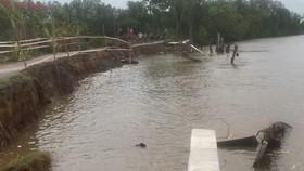 Công trình khắc phục sạt lở tuyến đê sông Gành Hào chưa hoàn thành đã bị… sạt lở