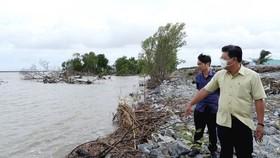Ông Nguyễn Tiến Hải, Chủ tịch UBND tỉnh Cà Mau đi kiểm tra thực tế sạt lở đê biển Tây ngày 6-8