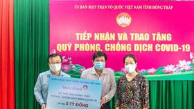 VietinBank ủng hộ Quỹ phòng, chống Covid- 19 của tỉnh Đồng Tháp nhằm chung tay, sẻ chia kịp thời với khó khăn của địa phương