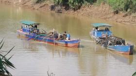 Hoạt động khai thác cát trên sông Đồng Nai trước khi có lệnh tạm ngừng khai thác.
