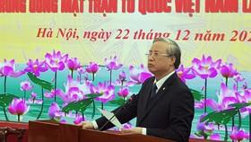 Đồng chí Trần Quốc Vượng, Ủy viên Bộ Chính trị, Thường trực Ban Bí thư phát biểu tại hội nghị
