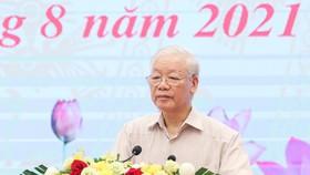 Tổng Bí thư Nguyễn Phú Trọng dự và phát biểu chỉ đạo tại hội nghị mặt trận. Ảnh: VIẾT CHUNG