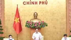 Thủ tướng Phạm Minh Chính kết luận phiên họp Chính phủ thường kỳ tháng 8 năm 2021. ẢNH: VIẾT CHUNG