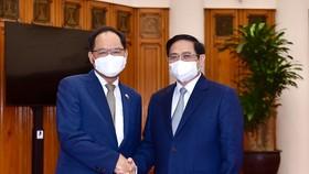 Thủ tướng Phạm Minh Chính tiếp Đại sứ Hàn Quốc tại Việt Nam Park Noh Wan