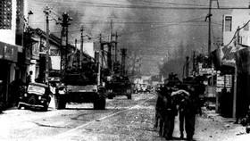 Một góc phố Sài Gòn trong Cuộc Tổng tiến công và nổi dậy Xuân Mậu Thân 1968. Ảnh tư liệu TTXVN