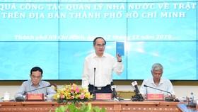Bí thư Thành ủy TPHCM Nguyễn Thiện Nhân phát biểu tại Hội nghị về nâng cao hiệu quả công tác quản lý nhà nước về trật tự xây dựng trên địa bàn TPHCM. Ảnh: VIỆT DŨNG
