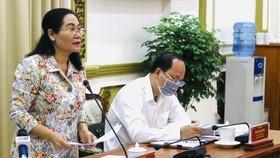 Chủ tịch HĐND TPHCM Nguyễn Thị Lệ, Chủ tịch Ủy ban Bầu cử TPHCM phát biểu tại điểm cầu TPHCM. Ảnh: LONG HỒ