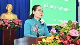 Chủ tịch HĐND TPHCM Nguyễn Thị Lệ dự và phát biểu chỉ đạo. Ảnh: VIỆT DŨNG