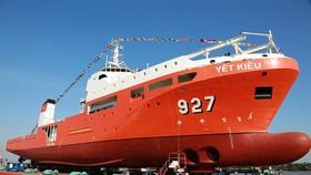Tàu tìm kiếm, cứu nạn tàu ngầm đa năng MSSARS 9316 mang tên Yết Kiêu, số hiệu 927. Ảnh: BQP