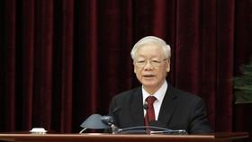 Tổng Bí thư, Chủ tịch nước Nguyễn Phú Trọng phát biểu bế mạc hội nghị. Ảnh: VIẾT CHUNG