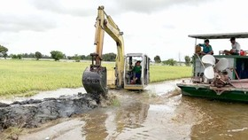 Long An administrators reinforce embankment to minimize the loss for locals (Photo: SGGP)