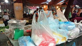 Plastic bags are sold at a traditional market in Hanoi (Photo: VNA)