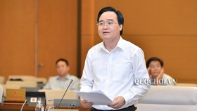 Education Minister Phung Xuan Nha at Committees of the National Assembly's working session (Photo: Quochoi)