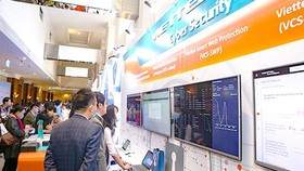 Products in the field of cyber security are exhibited on the Vietnam Information Security Day 2020 in Hanoi. (Photo: SGGP)