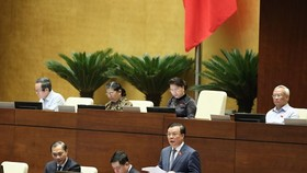 Minister of Finance Dinh Tien Dung (standing) speaks at the plenary sitting on June 15 (Photo: VNA)