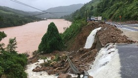 A landslide occurs in Quang Tri