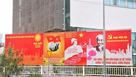 Panels installed in Ho Chi Minh City to welcome the 13th National Party Congress (Photo: VNA)