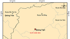 Two earthquakes consecutively hit Tra Bong mountainous district in Quang Ngai