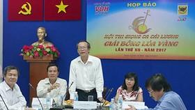 Ông Lê Công Đồng - Giám đốc Đài TNND TPHCM (VOH) phát biểu tại buổi họp báo sáng 16-5
