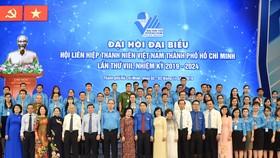 Bí thư Thành ủy TPHCM Nguyễn Thiện Nhân cùng các đồng chí lãnh đạo TPHCM, các đại biểu dự Đại hội Hội Liên hiệp Thanh niên Việt Nam TPHCM. Ảnh: VIỆT DŨNG