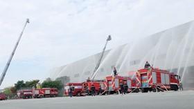 Diễn tập phương án phòng cháy chữa cháy tại Công ty Điện tử Samsung