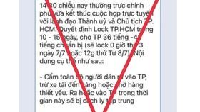 """Bác thông tin """"lock TPHCM trong 10-15 ngày"""""""