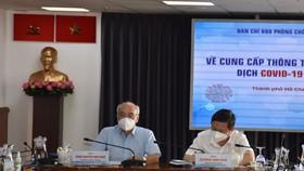 Đồng chí Phan Nguyễn Như Khuê, Trưởng ban Tuyên giáo Thành ủy và đồng chí Dương Anh Đức, Phó Chủ tịch UBND TP chủ trì buổi họp báo