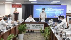 Phó Trưởng ban Tuyên giáo Trung ương Lê Hải Bình và Phó Ban chỉ đạo phòng chống dịch Covid-19 TPHCM Phạm Đức Hải chủ trì họp báo