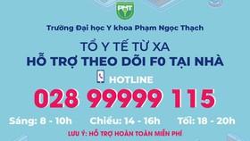 Hỗ trợ chăm sóc F0 nhẹ đang cách ly tại nhà qua số hotline 028.99999.115
