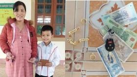 Học sinh lớp 3 nhặt được tiền và vàng trả lại cho người đánh rơi