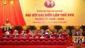Đoàn Chủ tịch Đại hội Đảng bộ tỉnh Hải Dương.Ảnh: nhandan