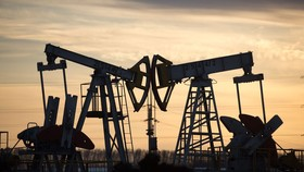 Kích bơm dầu hoạt động tại một mỏ dầu gần Almetyevsk, Tatarstan, Nga. Ảnh: Bloomberg